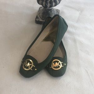 Michael Kors hunter green leather ballet flats